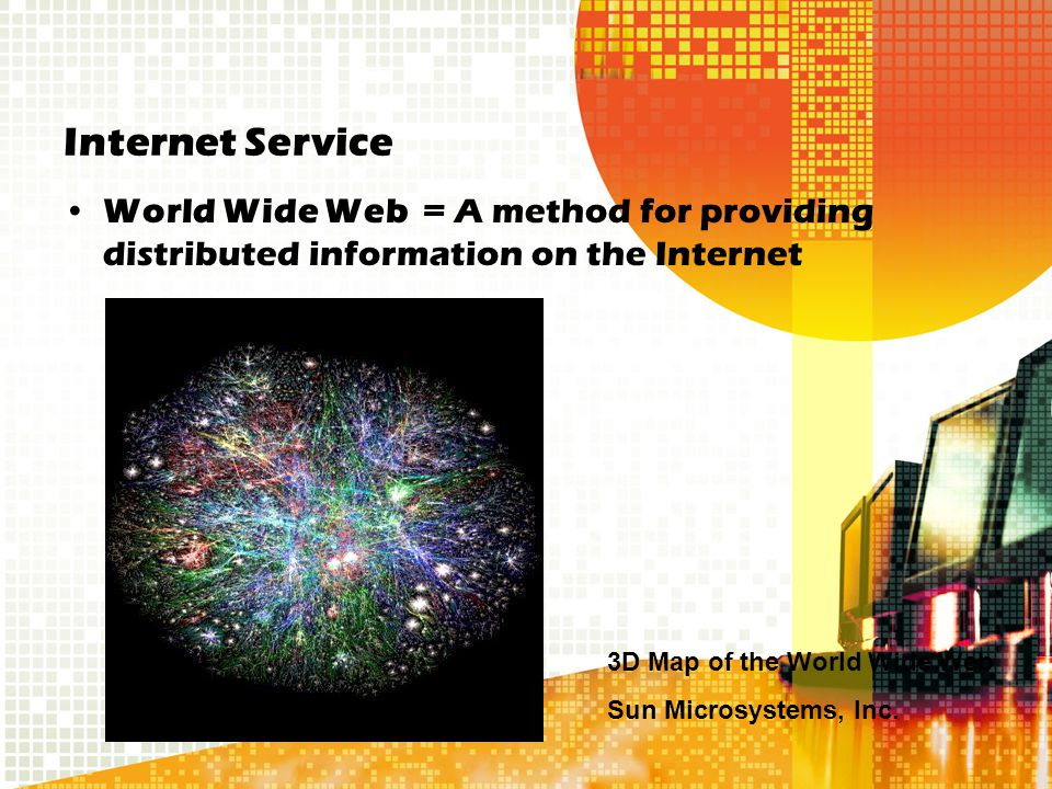 Internet Service World Wide Web = A method for providing distributed information on the Internet 3D Map of the World Wide Web Sun Microsystems, Inc.