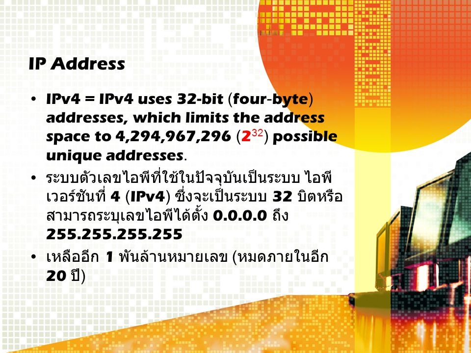 IP Address IPv4 = IPv4 uses 32-bit (four-byte) addresses, which limits the address space to 4,294,967,296 (2 32 ) possible unique addresses.