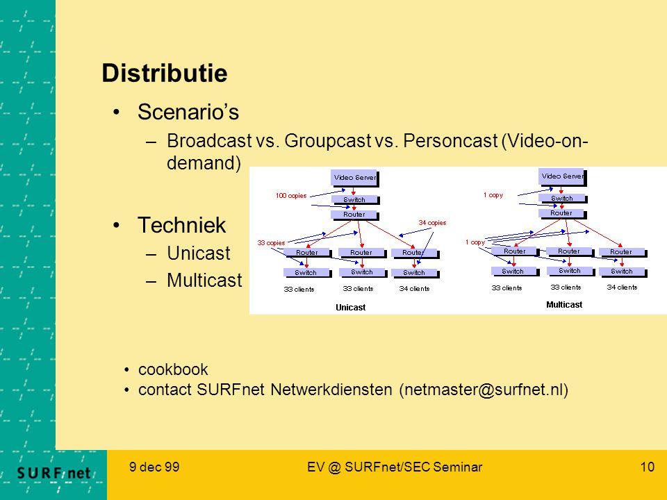 9 dec 99EV @ SURFnet/SEC Seminar10 Distributie Scenario's –Broadcast vs. Groupcast vs. Personcast (Video-on- demand) Techniek –Unicast –Multicast cook