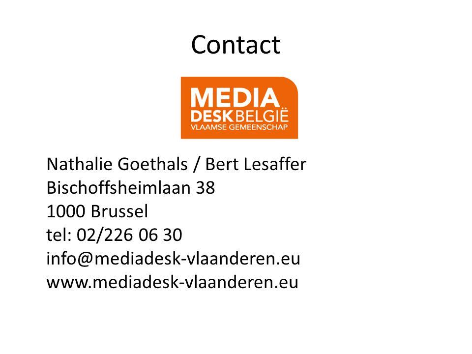 Contact Nathalie Goethals / Bert Lesaffer Bischoffsheimlaan 38 1000 Brussel tel: 02/226 06 30 info@mediadesk-vlaanderen.eu www.mediadesk-vlaanderen.eu