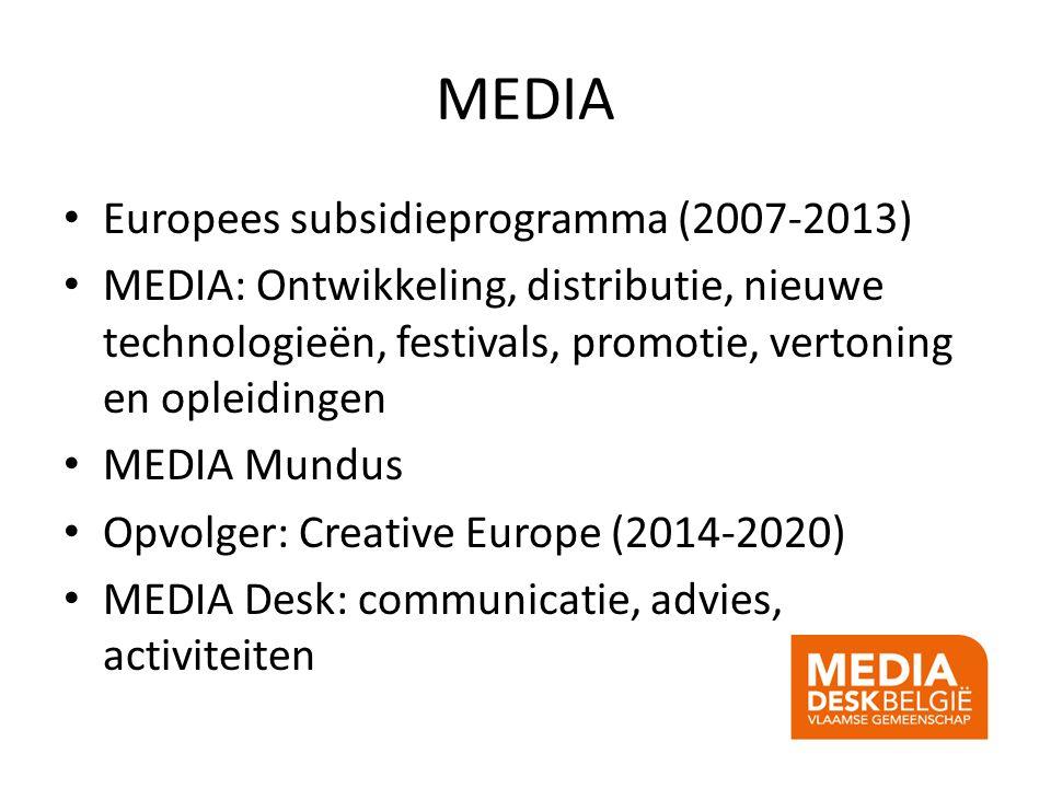 MEDIA Europees subsidieprogramma (2007-2013) MEDIA: Ontwikkeling, distributie, nieuwe technologieën, festivals, promotie, vertoning en opleidingen MED