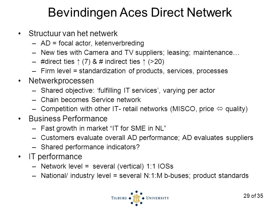 29 of 35 Bevindingen Aces Direct Netwerk Structuur van het netwerk –AD = focal actor, ketenverbreding –New ties with Camera and TV suppliers; leasing; maintenance… –#direct ties ↑ (7) & # indirect ties ↑ (>20) –Firm level = standardization of products, services, processes Netwerkprocessen –Shared objective: 'fulfilling IT services', varying per actor –Chain becomes Service network –Competition with other IT- retail networks (MISCO, price  quality) Business Performance –Fast growth in market IT for SME in NL –Customers evaluate overall AD performance; AD evaluates suppliers –Shared performance indicators.