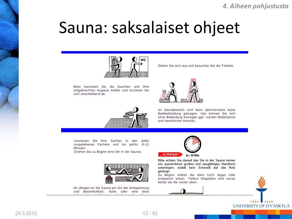 Sauna: saksalaiset ohjeet 24.5.2012 4. Aiheen pohjustusta 12 / 43