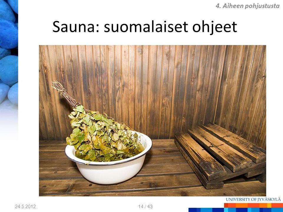 Sauna: suomalaiset ohjeet 24.5.2012 4. Aiheen pohjustusta 14 / 43