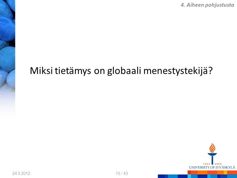 Miksi tietämys on globaali menestystekijä? 24.5.2012 4. Aiheen pohjustusta 15 / 43