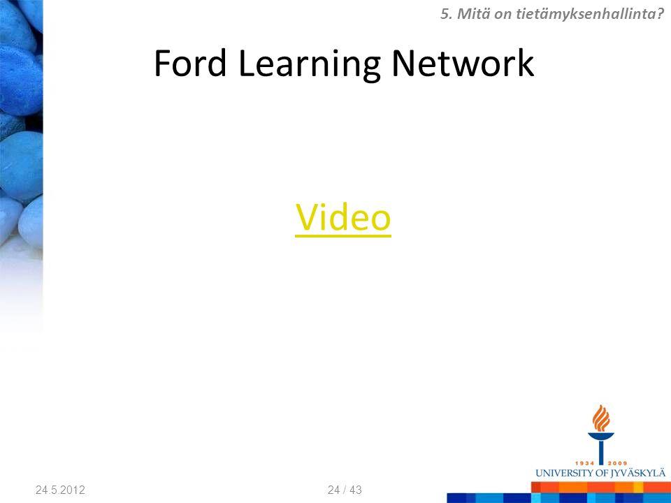 Ford Learning Network Video 24.5.2012 5. Mitä on tietämyksenhallinta? 24 / 43