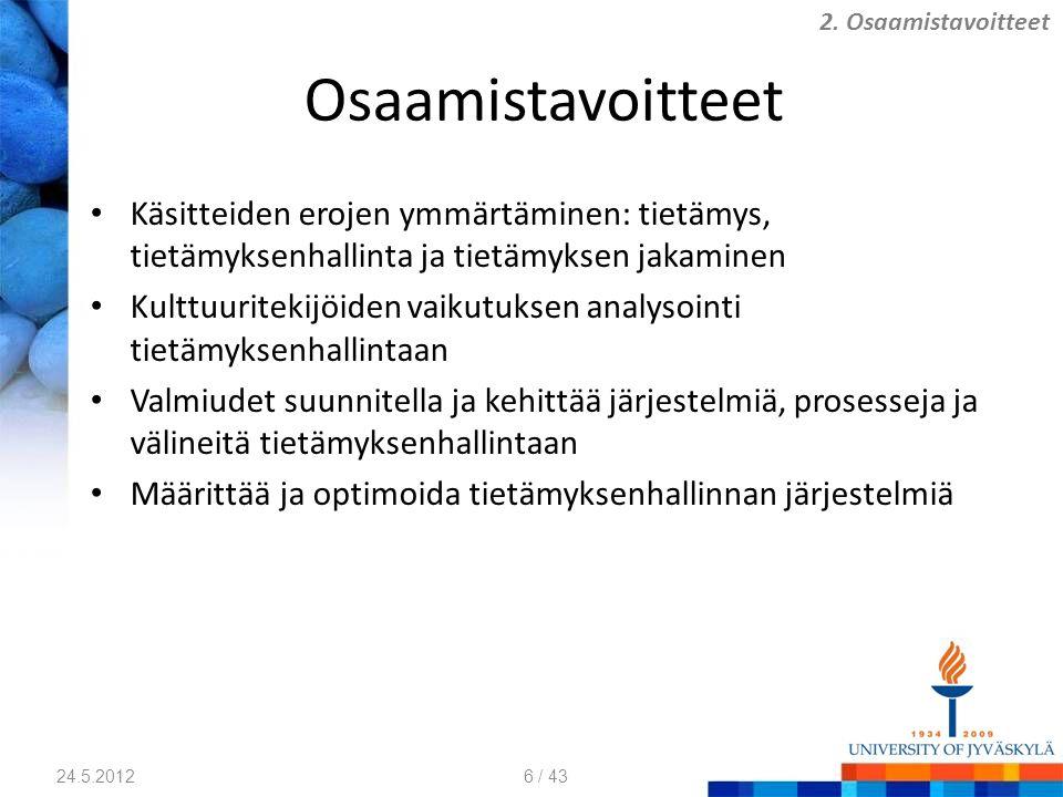Osaamistavoitteet Käsitteiden erojen ymmärtäminen: tietämys, tietämyksenhallinta ja tietämyksen jakaminen Kulttuuritekijöiden vaikutuksen analysointi tietämyksenhallintaan Valmiudet suunnitella ja kehittää järjestelmiä, prosesseja ja välineitä tietämyksenhallintaan Määrittää ja optimoida tietämyksenhallinnan järjestelmiä 24.5.2012 2.