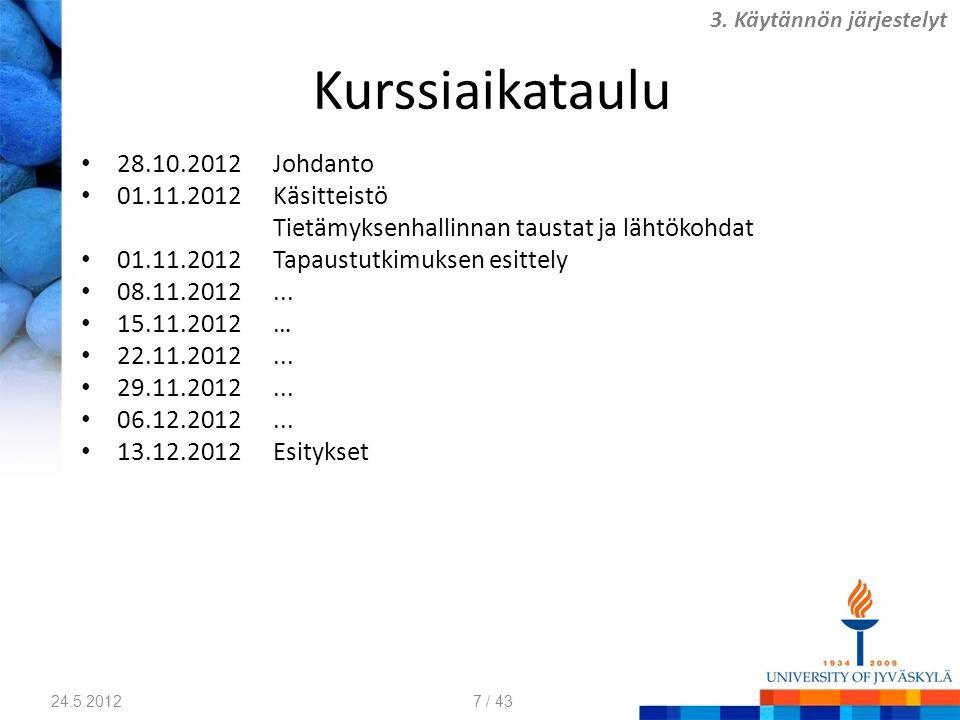 Kurssiaikataulu 28.10.2012 Johdanto 01.11.2012 Käsitteistö Tietämyksenhallinnan taustat ja lähtökohdat 01.11.2012Tapaustutkimuksen esittely 08.11.2012...