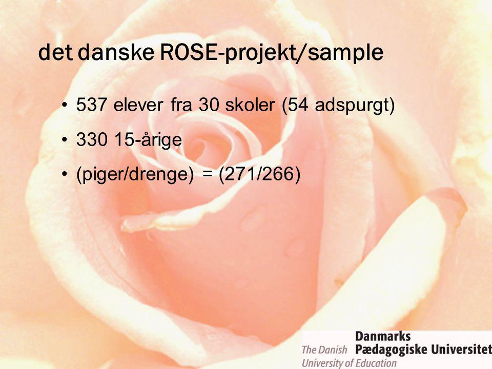 537 elever fra 30 skoler (54 adspurgt) 330 15-årige (piger/drenge) = (271/266) det danske ROSE-projekt/sample
