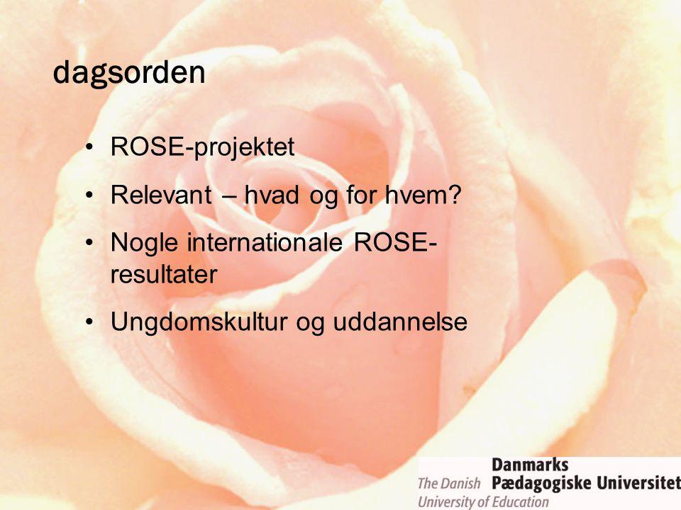 dagsorden ROSE-projektet Relevant – hvad og for hvem? Nogle internationale ROSE- resultater Ungdomskultur og uddannelse