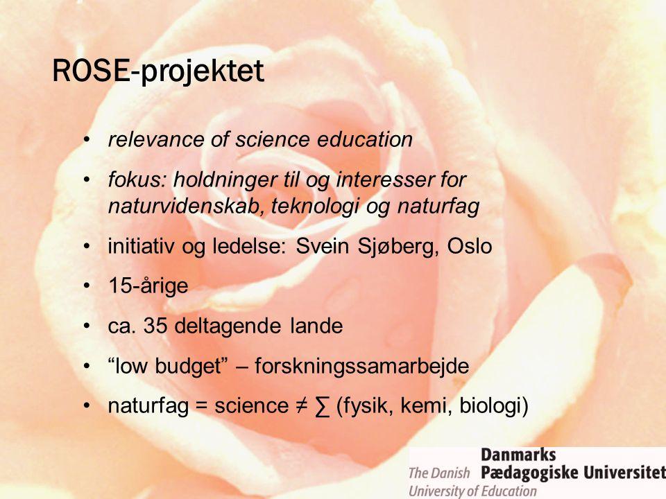 ROSE-projektet relevance of science education fokus: holdninger til og interesser for naturvidenskab, teknologi og naturfag initiativ og ledelse: Svei