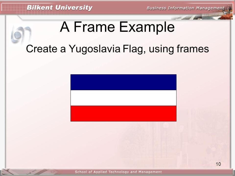10 A Frame Example Create a Yugoslavia Flag, using frames