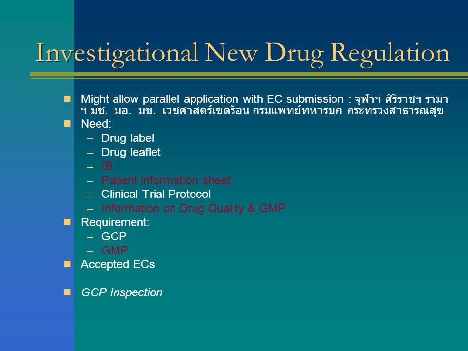 Investigational New Drug Regulation  Might allow parallel application with EC submission : จุฬาฯ ศิริราชฯ รามา ฯ มช. มอ. มข. เวชศาสตร์เขตร้อน กรมแพทย