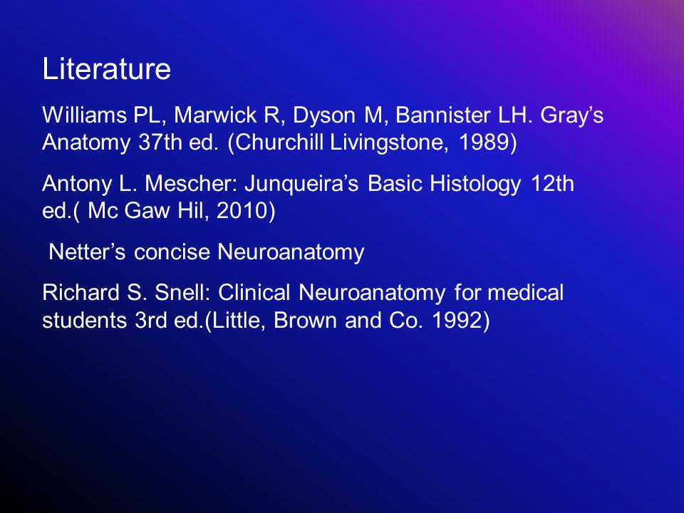 Literature Williams PL, Marwick R, Dyson M, Bannister LH. Gray's Anatomy 37th ed. (Churchill Livingstone, 1989) Antony L. Mescher: Junqueira's Basic H