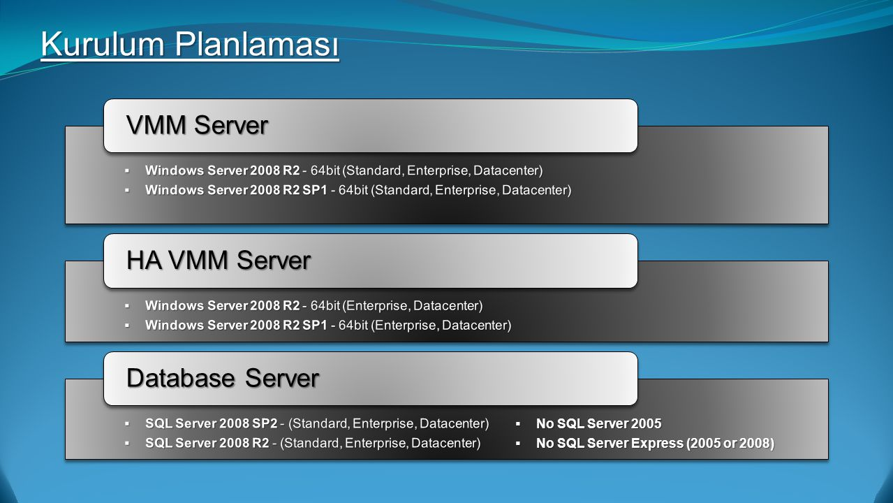 VMM Server HA VMM Server Database Server  No SQL Server 2005  No SQL Server Express (2005 or 2008) Kurulum Planlaması