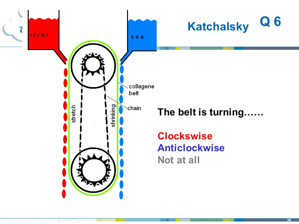 34 Katchalsky The belt is turning…… Clockswise Anticlockwise Not at all Q 6