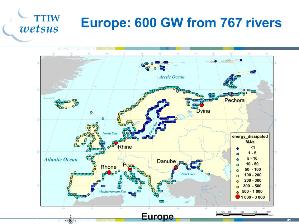 41 Europe: 600 GW from 767 rivers