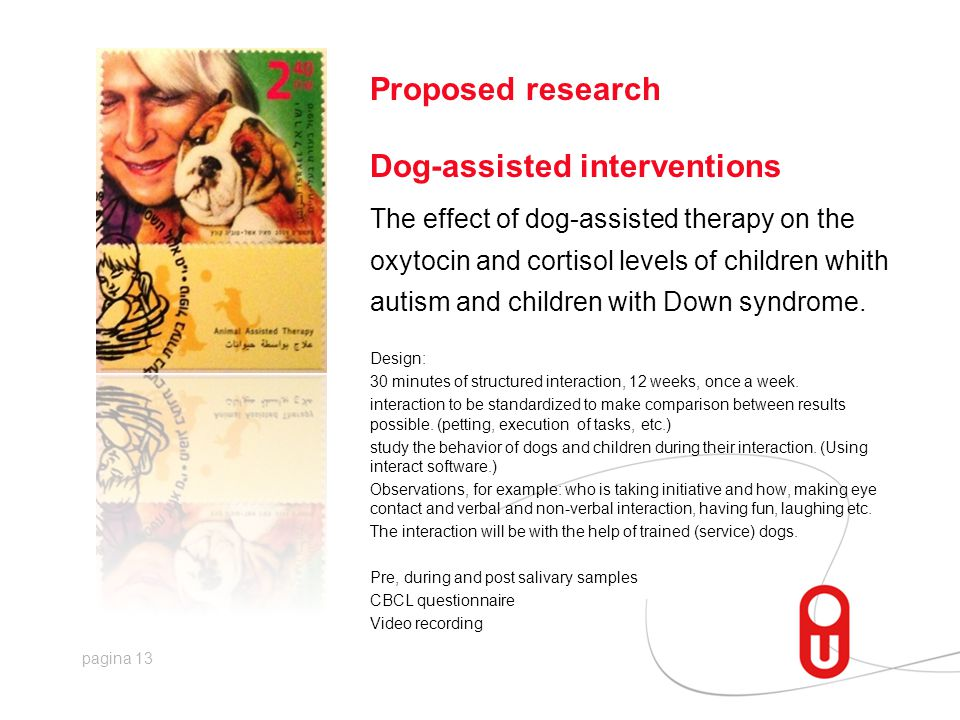 pagina 13 Proposed research Dog-assisted interventions The effect of dog-assisted therapy on the oxytocin and cortisol levels of children whith autism and children with Down syndrome.