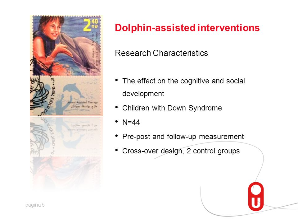 pagina 5 Dolphin-assisted interventions Research Characteristics • The effect on the cognitive and social development • Children with Down Syndrome • N=44 • Pre-post and follow-up measurement • Cross-over design, 2 control groups