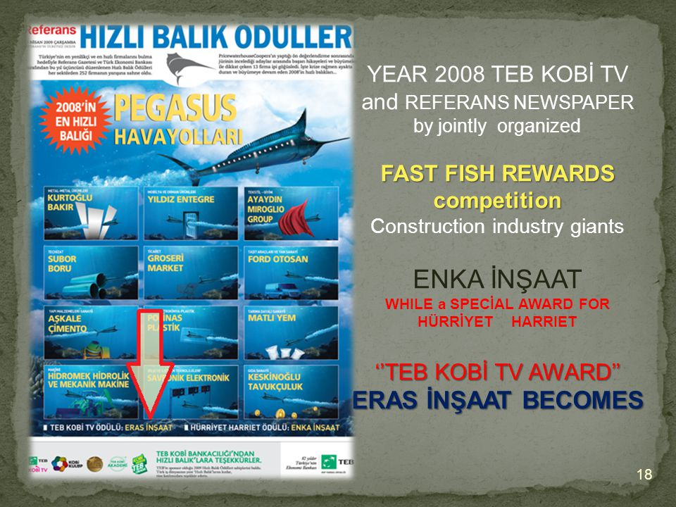 18 YEAR 2008 TEB KOBİ TV and REFERANS NEWSPAPER by jointly organized FAST FISH REWARDS competition Construction industry giants ENKA İNŞAAT WHILE a SPECİAL AWARD FOR HÜRRİYET HARRIET ''TEB KOBİ TV AWARD'' ERAS İNŞAAT BECOMES