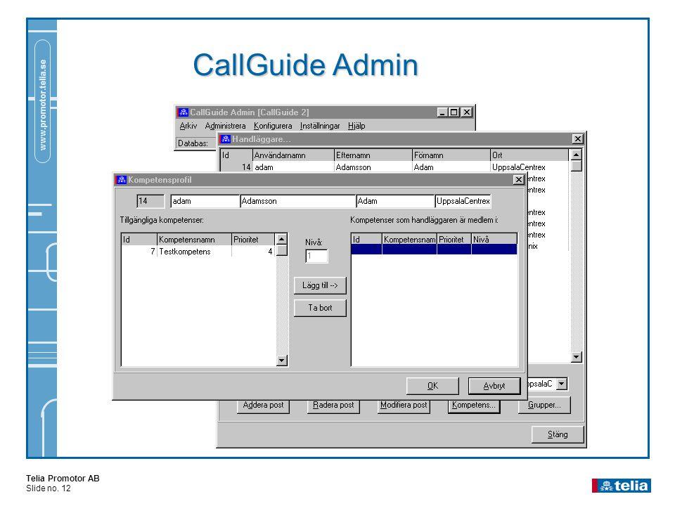 Telia Promotor AB Slide no. 12 www.promotor.telia.se CallGuide Admin