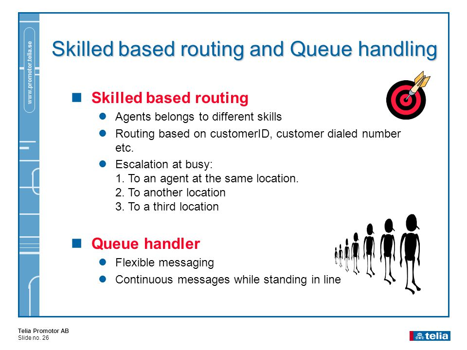 Telia Promotor AB Slide no. 26 www.promotor.telia.se Skilled based routing and Queue handling  Skilled based routing  Agents belongs to different sk