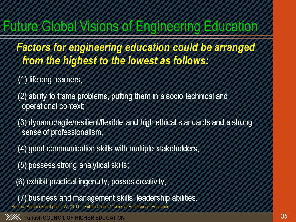 Turkish COUNCIL OF HIGHER EDUCATION Future Global Visions of Engineering Education Factors for engineering education could be arranged from the highest to the lowest as follows: (1 ) lifelong learners; (2) ability to frame problems, putting them in a socio-technical and operational context; (3) dynamic/agile/resilient/flexible and high ethical standards and a strong sense of professionalism, (4) good communication skills with multiple stakeholders; (5) possess strong analytical skills; (6) exhibit practical ingenuity; posses creativity; (7) business and management skills; leadership abilities.