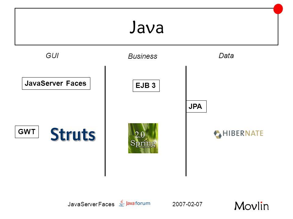 2007-02-07JavaServer Faces Facelets – enklare att •Skapa egna komponenter •Skapa valideringsfunktioner •Skapa taggar •Skicka parametrar mellan sidor •Exadel Studio