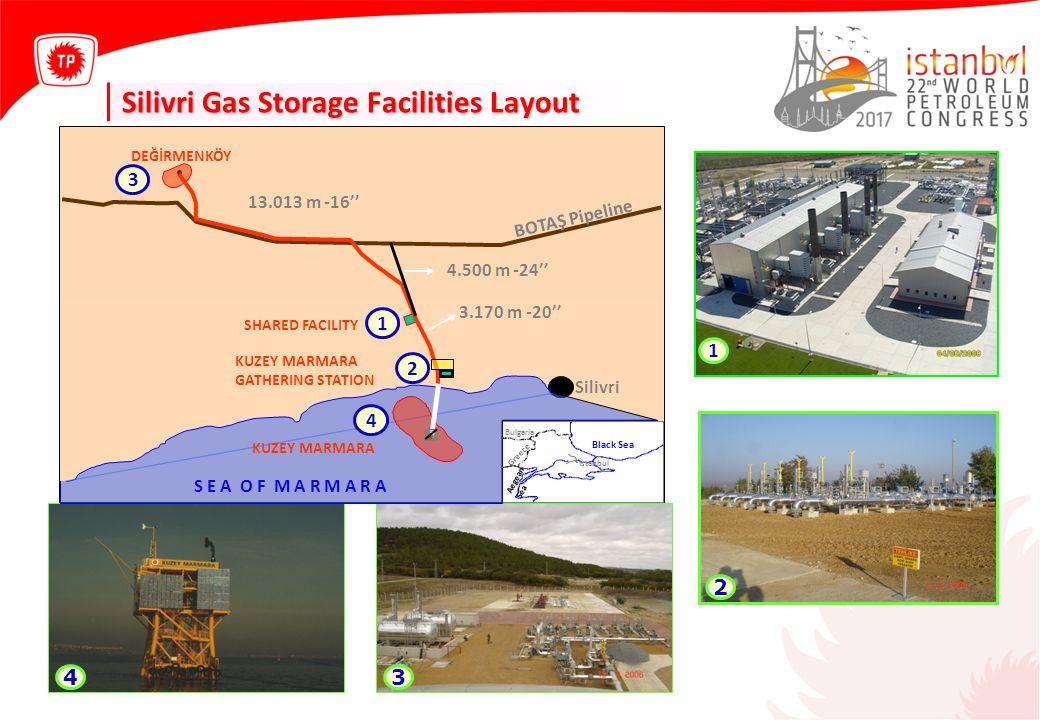 Kuzey Marmara Field – Wells and Surface Facilities 2 3 1 1 2 3 ~ 3000 m ~ 43 m ~1200 m STORAGE FACILITIES OFFSHORE WELLS ERD WELLS SURFACE FACILITIES