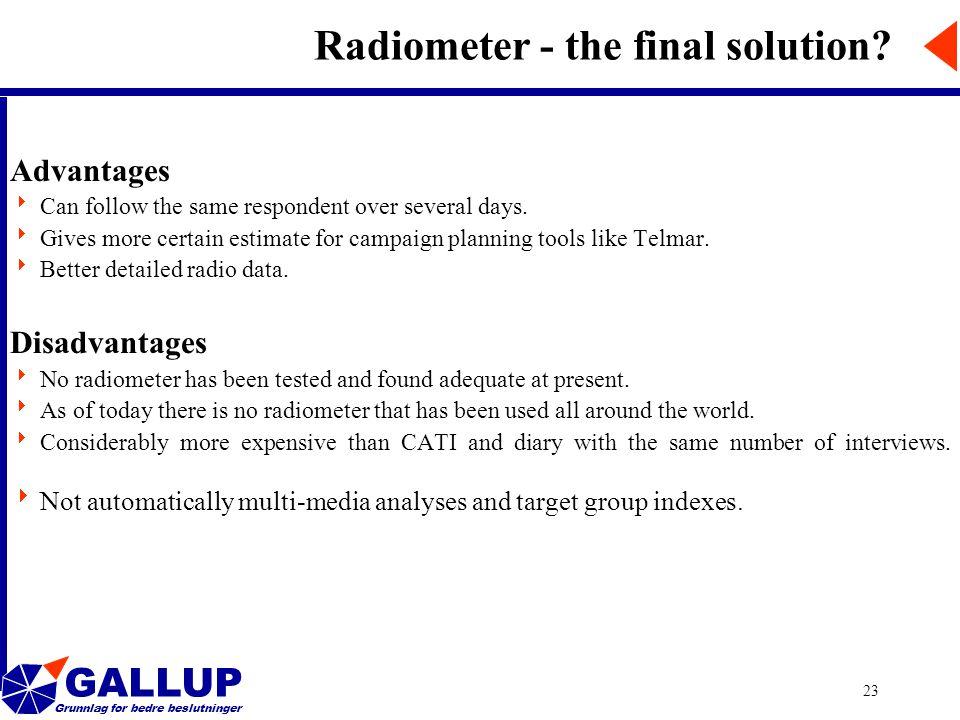 GALLUP Grunnlag for bedre beslutninger 23 Radiometer - the final solution.