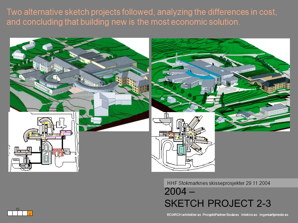 BOARCH arkitekter as ProsjektPartner Bodø as Intekno as Ingeniørtjeneste as 2004 – SKETCH PROJECT 2-3 HHF Stokmarknes skisseprosjekter 29.11.2004 10 V