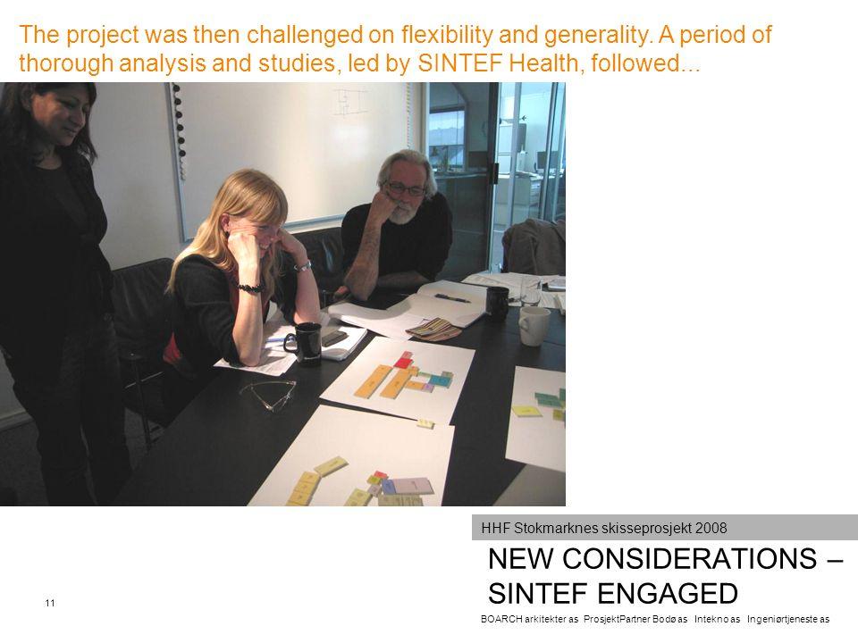 NEW CONSIDERATIONS – SINTEF ENGAGED BOARCH arkitekter as ProsjektPartner Bodø as Intekno as Ingeniørtjeneste as 11 HHF Stokmarknes skisseprosjekt 2008