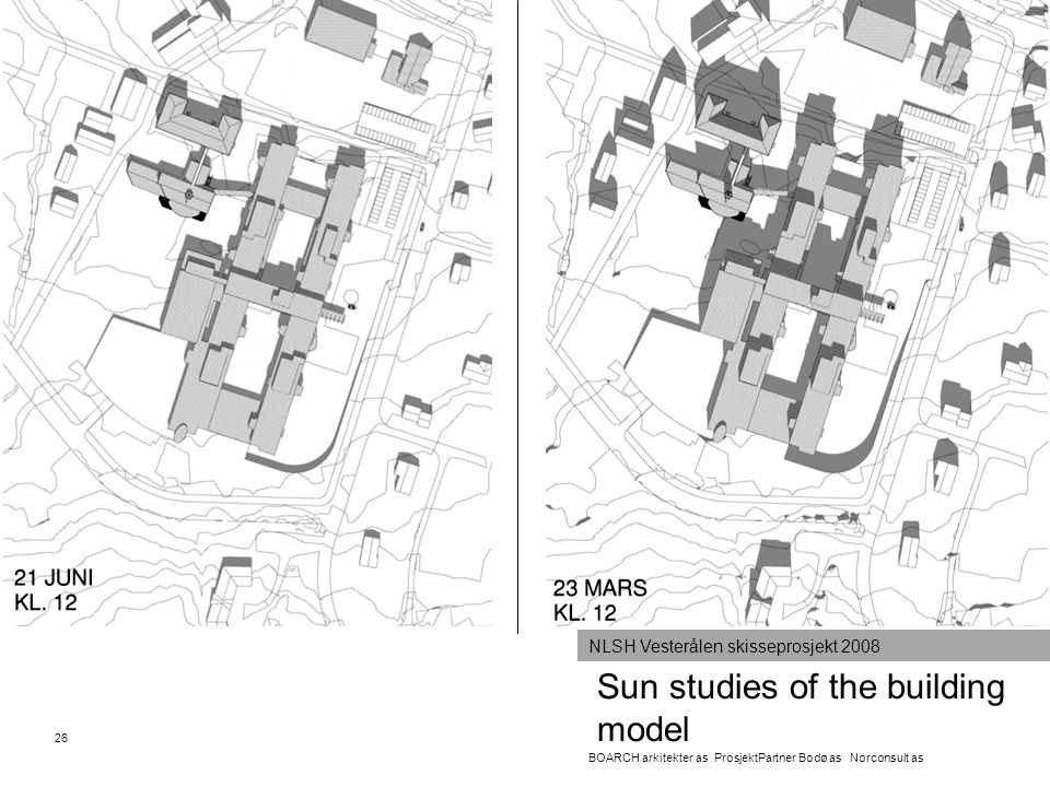 Sun studies of the building model 26 BOARCH arkitekter as ProsjektPartner Bodø as Norconsult as NLSH Vesterålen skisseprosjekt 2008