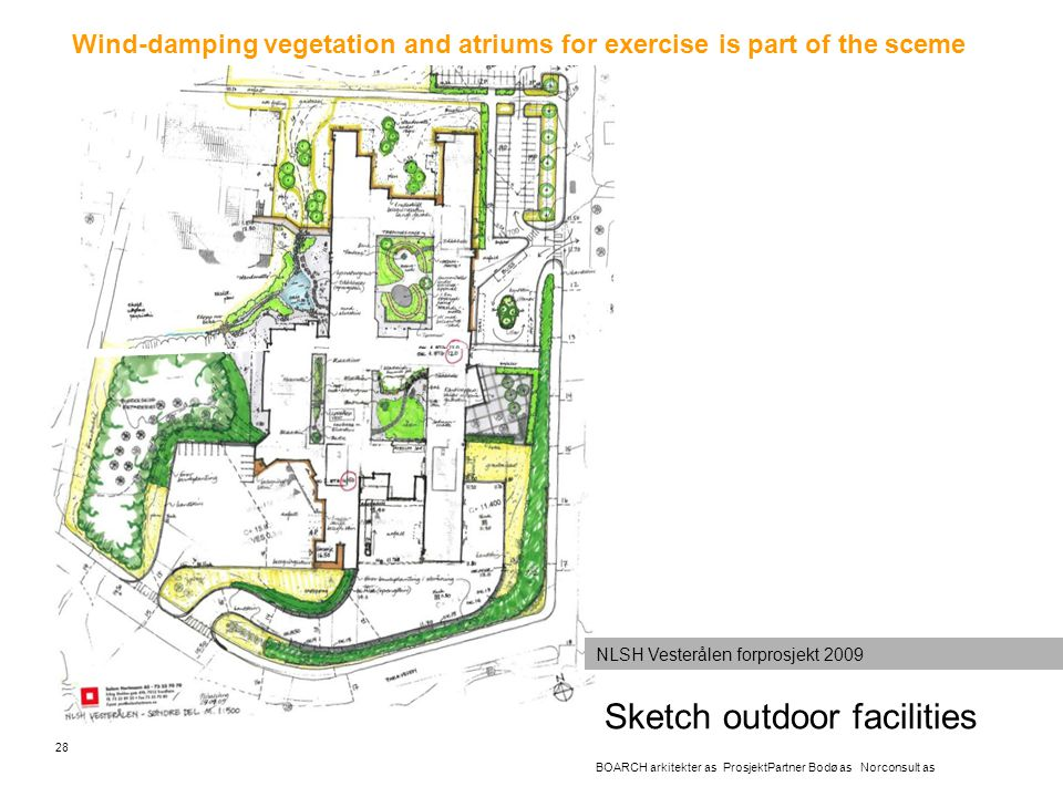 Sketch outdoor facilities 28 BOARCH arkitekter as ProsjektPartner Bodø as Norconsult as Wind-damping vegetation and atriums for exercise is part of th