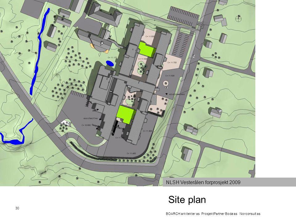 Site plan 30 BOARCH arkitekter as ProsjektPartner Bodø as Norconsult as NLSH Vesterålen forprosjekt 2009