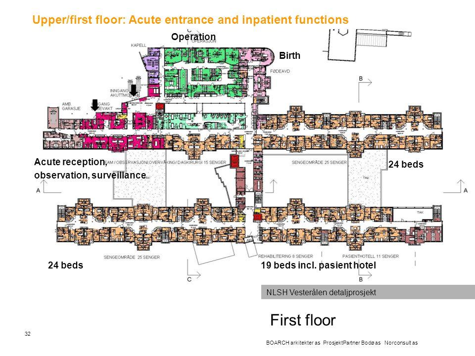 First floor 32 BOARCH arkitekter as ProsjektPartner Bodø as Norconsult as NLSH Vesterålen detaljprosjekt Upper/first floor: Acute entrance and inpatie