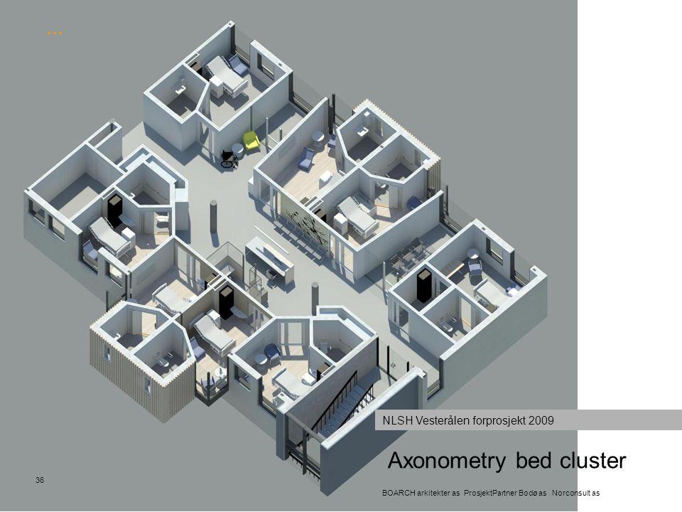 Axonometry bed cluster 36 BOARCH arkitekter as ProsjektPartner Bodø as Norconsult as NLSH Vesterålen forprosjekt 2009 …