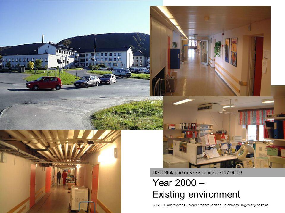 Year 2000 – Existing environment BOARCH arkitekter as ProsjektPartner Bodø as Intekno as Ingeniørtjeneste as HSH Stokmarknes skisseprosjekt 17.06.03