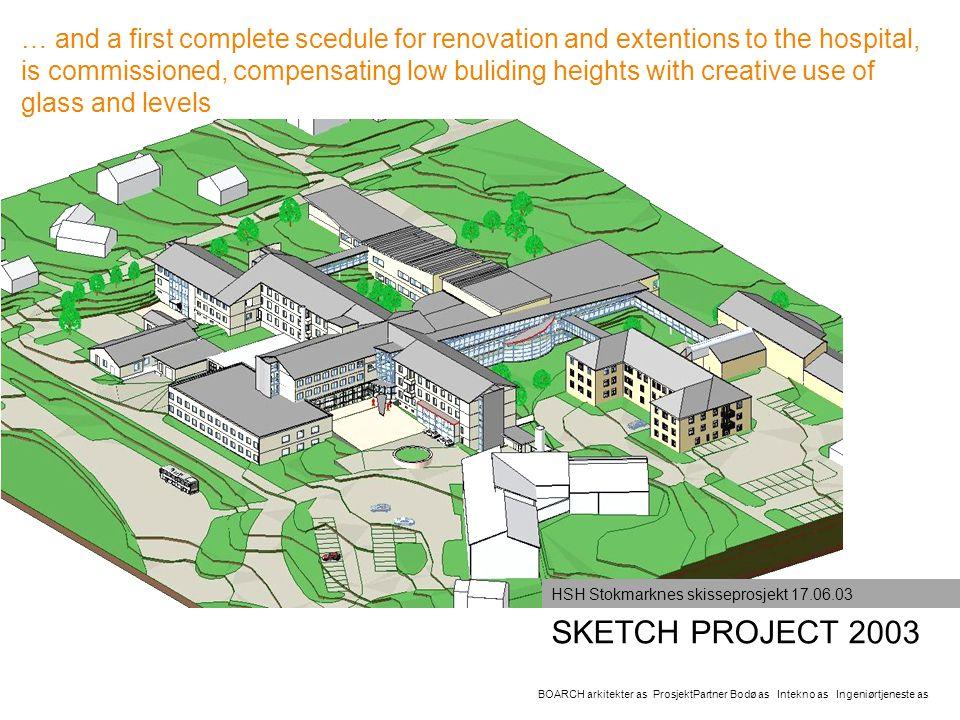 SKETCH PROJECT 2003 BOARCH arkitekter as ProsjektPartner Bodø as Intekno as Ingeniørtjeneste as HSH Stokmarknes skisseprosjekt 17.06.03 … and a first