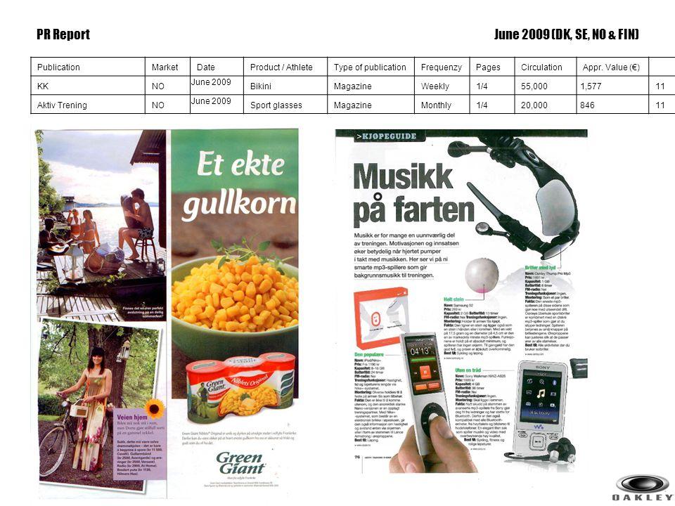 11 PublicationMarketDateProduct / AthleteType of publicationFrequenzyPagesCirculationAppr. Value (€) KKNO June 2009 BikiniMagazineWeekly1/455,0001,577