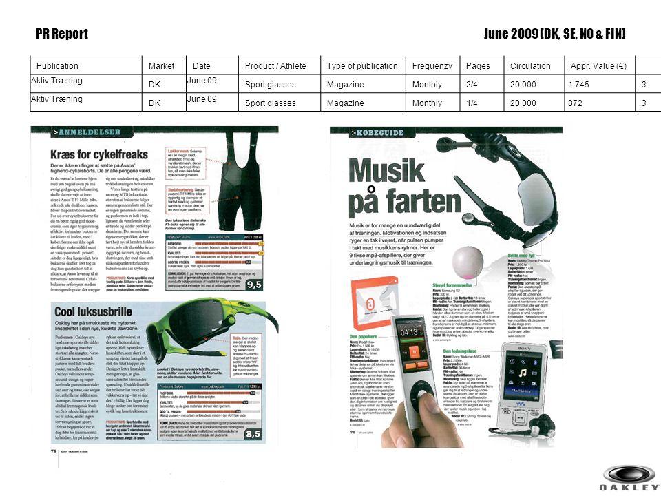 3 PublicationMarketDateProduct / AthleteType of publicationFrequenzyPagesCirculationAppr. Value (€) Aktiv Træning DK June 09 Sport glassesMagazineMont