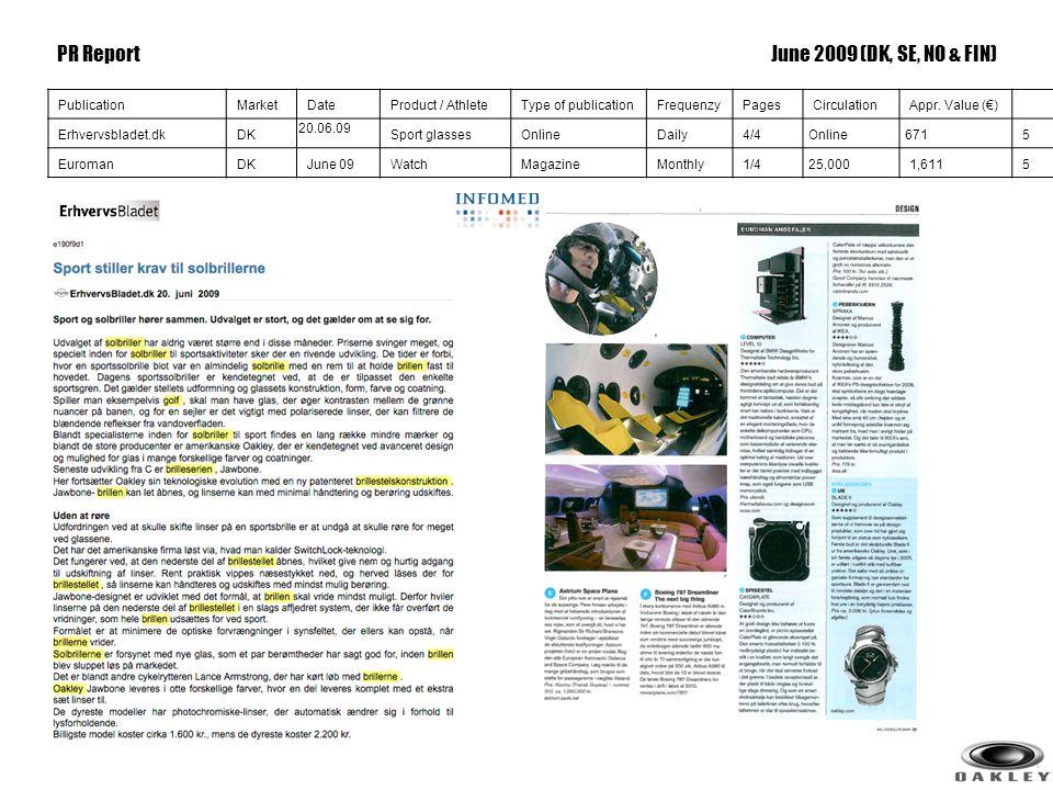 5 PublicationMarketDateProduct / AthleteType of publicationFrequenzyPagesCirculationAppr. Value (€) Erhvervsbladet.dkDK 20.06.09 Sport glassesOnlineDa