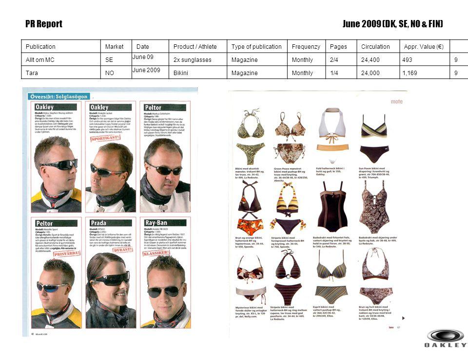 9 PublicationMarketDateProduct / AthleteType of publicationFrequenzyPagesCirculationAppr. Value (€) Allt om MCSE June 09 2x sunglassesMagazineMonthly2