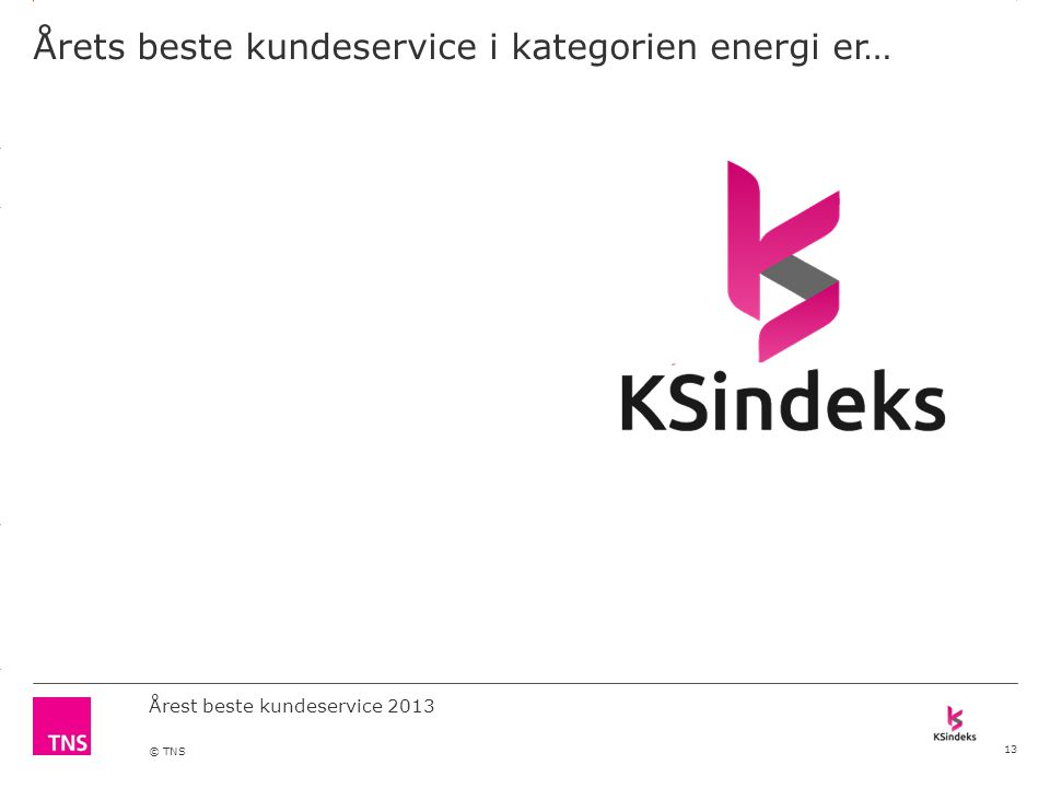 3.14 X AXIS 6.65 BASE MARGIN 5.95 TOP MARGIN 4.52 CHART TOP 11.90 LEFT MARGIN 11.90 RIGHT MARGIN DO NOT ALTER SLIDE MASTERS – THIS IS A TNS APPROVED TEMPLATE Årest beste kundeservice 2013 © TNS Årets beste kundeservice i kategorien energi er… 13