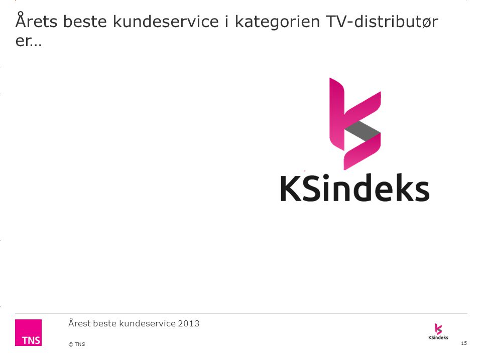 3.14 X AXIS 6.65 BASE MARGIN 5.95 TOP MARGIN 4.52 CHART TOP 11.90 LEFT MARGIN 11.90 RIGHT MARGIN DO NOT ALTER SLIDE MASTERS – THIS IS A TNS APPROVED TEMPLATE Årest beste kundeservice 2013 © TNS Årets beste kundeservice i kategorien TV-distributør er… 15