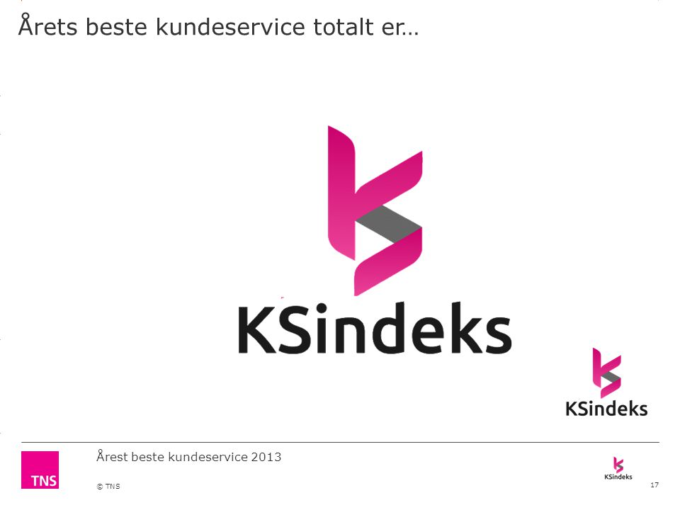 3.14 X AXIS 6.65 BASE MARGIN 5.95 TOP MARGIN 4.52 CHART TOP 11.90 LEFT MARGIN 11.90 RIGHT MARGIN DO NOT ALTER SLIDE MASTERS – THIS IS A TNS APPROVED TEMPLATE Årest beste kundeservice 2013 © TNS Årets beste kundeservice totalt er… 17