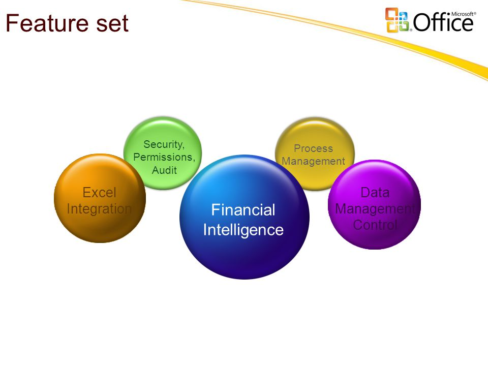 Financial Intelligence Excel Integration Security, Permissions, Audit Process Management Data Management Control Feature set