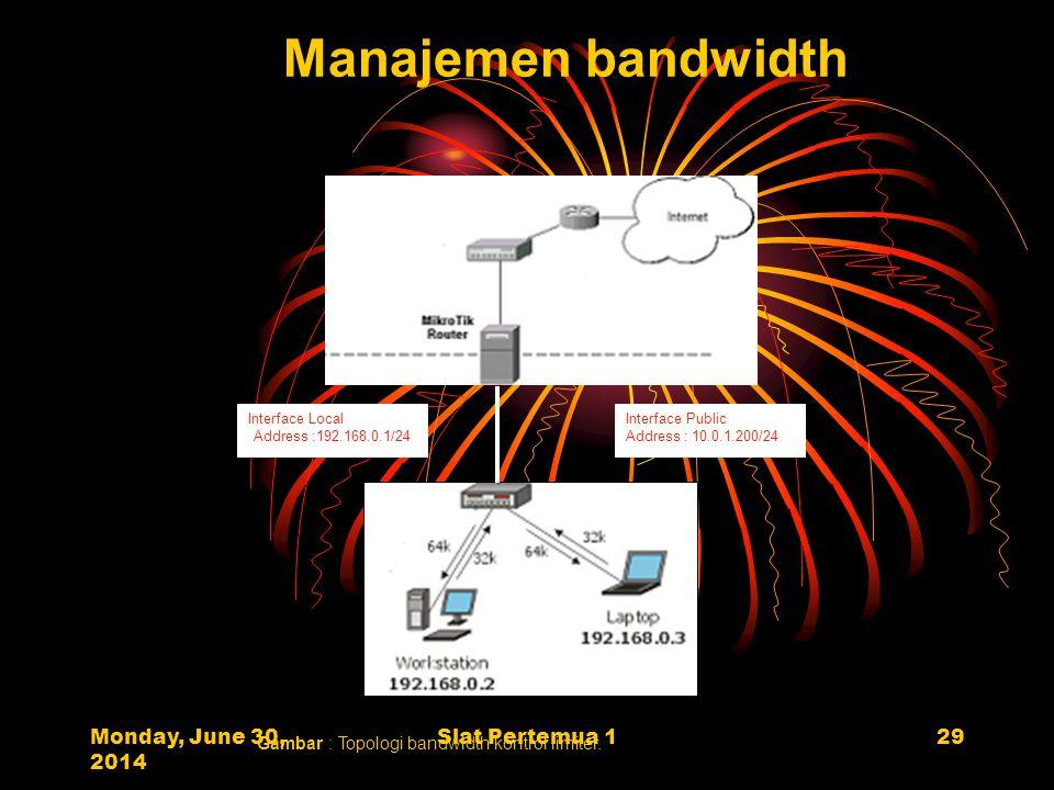 Monday, June 30, 2014 Slat Pertemua 129 Interface Local Address :192.168.0.1/24 Interface Public Address : 10.0.1.200/24 Internet Gateway 10.0.1.1 Manajemen bandwidth Gambar : Topologi bandwidth kontrol limiter.