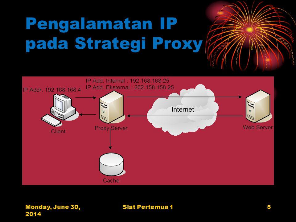 Monday, June 30, 2014 Slat Pertemua 15 Pengalamatan IP pada Strategi Proxy
