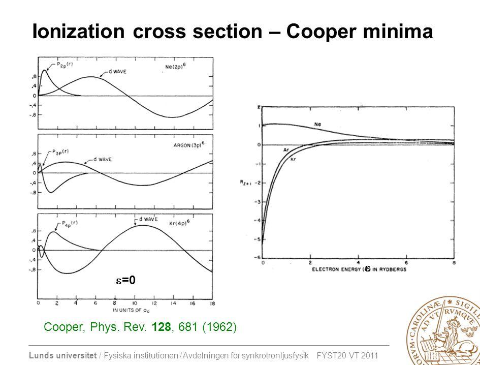 Lunds universitet / Fysiska institutionen / Avdelningen för synkrotronljusfysik FYST20 VT 2011 Ionization cross section – Cooper minima Cooper, Phys.